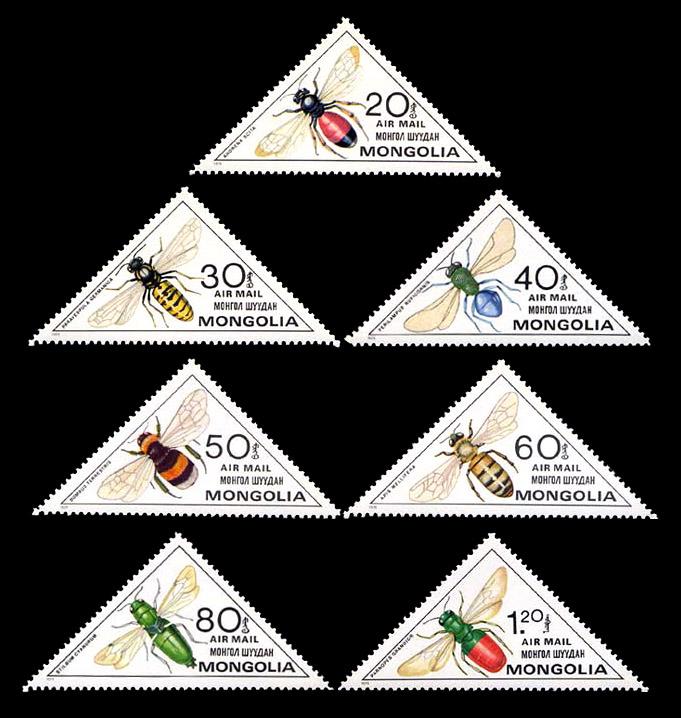 Mongolia, 1980: Airs - Wasps & Bees