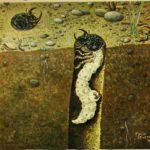 Cicindela larva in the burrows, by Mario Sturani, 1942
